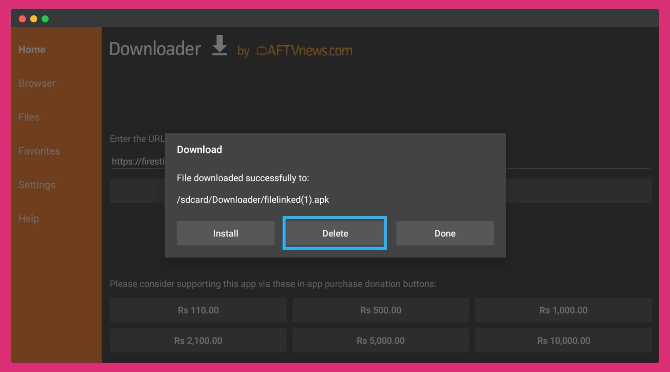 click-on-the-Delete-button