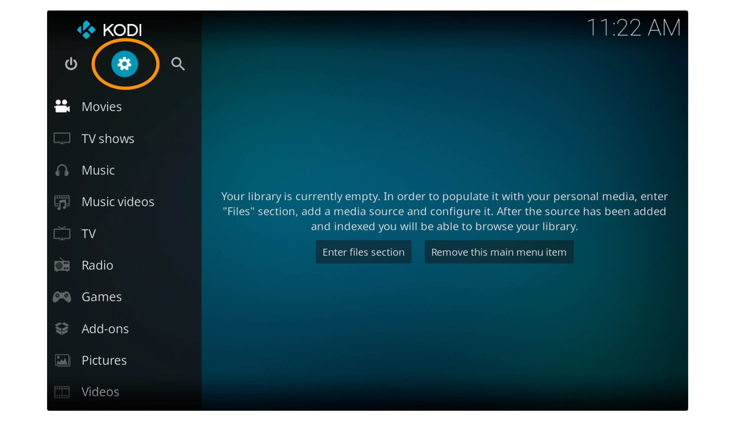 open-kodi-Click-on-Settings-to-Install-real-Debride